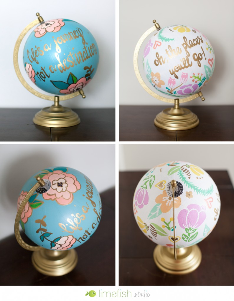 Limefish Studio Custom Painted Globe
