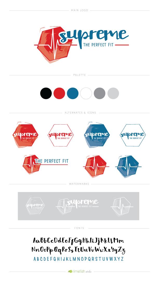 Supreme Fitness Coach Logo by Limefish Studio | Custom Logo and Branding Designs | Brand Board | Heartbeat Logo | Red White Blue